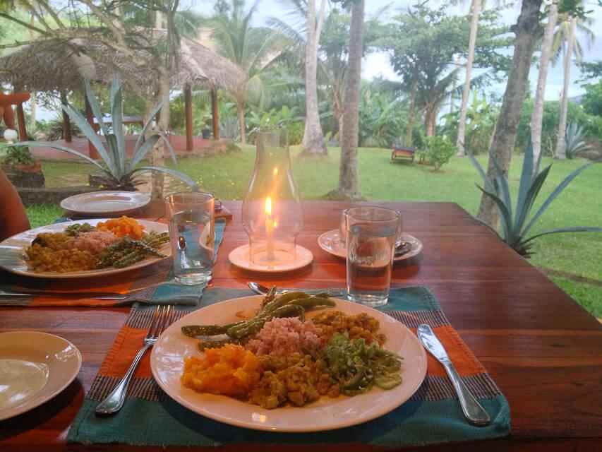 Abendessen in schöner Umgebung